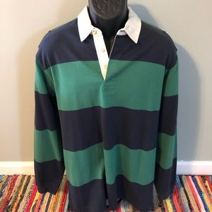 Aarow Rugby Striped Polo Shirt Vintage Style